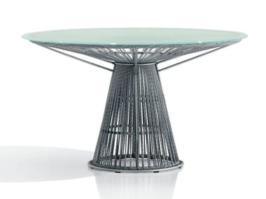 Round crystal and polyester table CORDULA | Polyester table