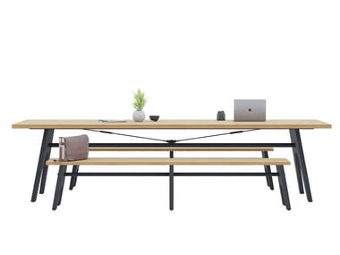 Rectangular table with laminate top and integrated bench CORE & ROVE