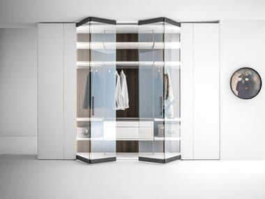 Wood and glass wardrobe with folding doors CORE | Wood and glass wardrobe