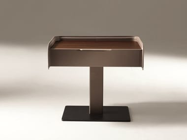 Rectangular leather bedside table with drawers CORIUM | Bedside table