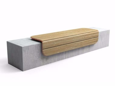 Backless steel and wood Bench CORNER