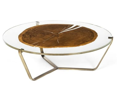 Low round wood and glass coffee table CORTINA