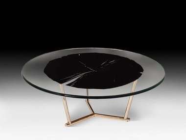 Low round wood and glass coffee table CORVARA