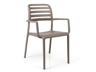 Stackable chair with armrests COSTA