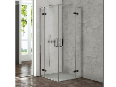 Corner shower cabin with hinged door COVER AB + AB
