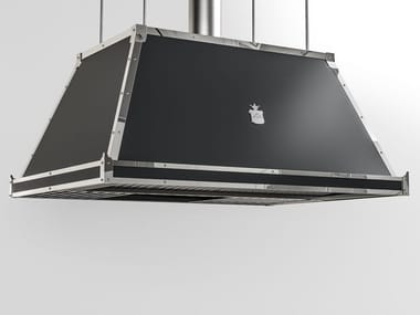 Professional painted metal island hood with integrated lighting CPP002ISL | Professional cooker hood