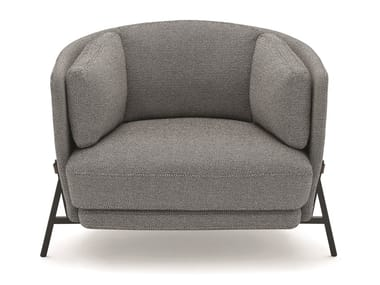 Fabric armchair with armrests CRADLE | Armchair