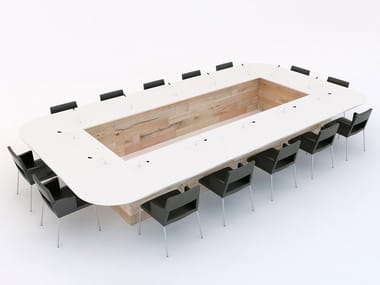 Modular beech meeting table CRAFTWAND® | Meeting table