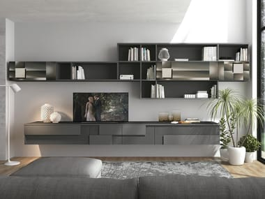 Sectional wall-mounted storage wall CREATIVA LIVING B