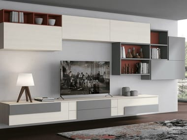 Sectional wall-mounted storage wall CREATIVA LIVING C