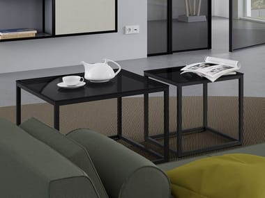 Square aluminium and wood coffee table CREO | Coffee table