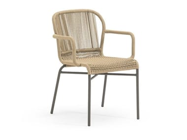 Gartenstuhl aus synthetischer Faser mit Armlehnen CRICKET | Stuhl mit Armlehnen