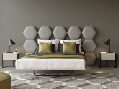 Fabric double bed with upholstered headboard CRISTALLO