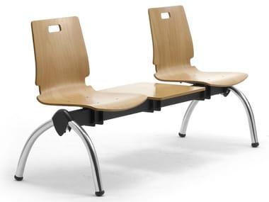 Freestanding multi-layer wood and steel beam seating CRISTALLO | Beam seating