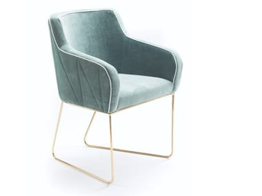 Sled base fabric chair with armrests CROIX   Chair with armrests