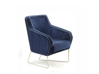 Sled base fabric armchair with armrests CROIX I