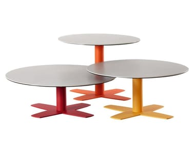 Mesa de centro baixa de café redonda de cerâmica CROIX | Mesa de centro