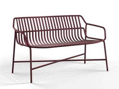Powder coated steel bench with back CRONA STEEL   Garden bench