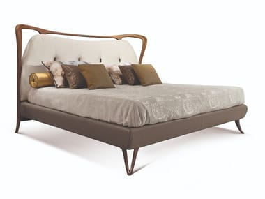 Contemporary style wooden double bed with tufted headboard with upholstered headboard CRONO | Walnut bed