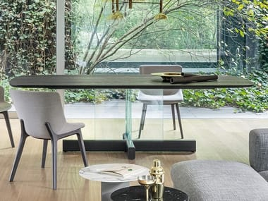 Rectangular wood and glass dining table CROSS GLASS