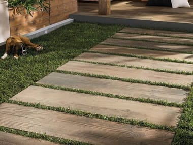 Porcelain stoneware outdoor floor tiles with wood effect CROSS WOOD 20 MM | Outdoor floor tiles