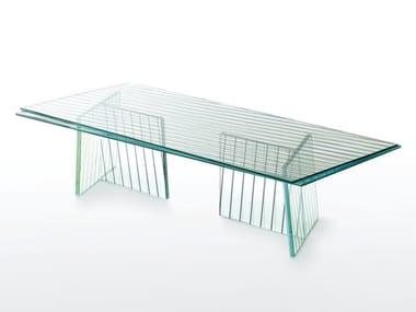 Tavolo rettangolare in cristallo CROSSING | Tavolo rettangolare
