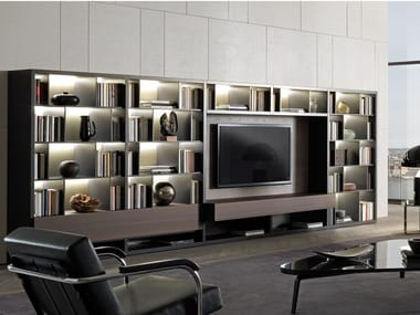 Wooden TV wall system with integrated lighting CROSSING | Storage wall