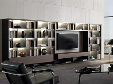 Módulo de arrumação de parede de madeira com luzes integradas com suporte para TV CROSSING | Módulo de arrumação de parede