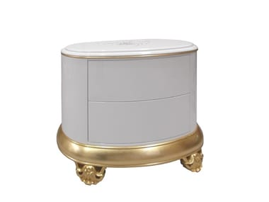 Lacquered oval bedside table with drawers CROWN   Bedside table