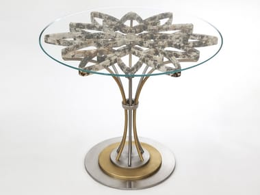 Round Granite, Glass and Stainless Steel table CROWN