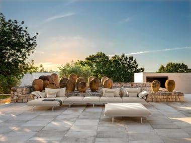 Divano da giardino in tessuto con chaise longue CRUISE ALU | Divano da giardino componibile