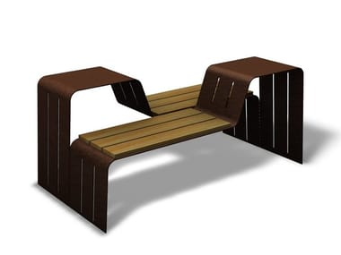 Steel and wood Bench with back CRYOU | Steel and wood Bench