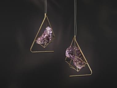 Lampada a sospensione in cristallo e metallo CRYROCK | Lampada a sospensione