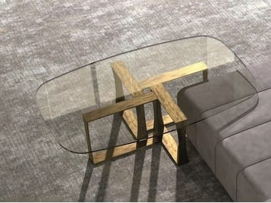 Contemporary style low rectangular glass coffee table for living room CUBE | Coffee table