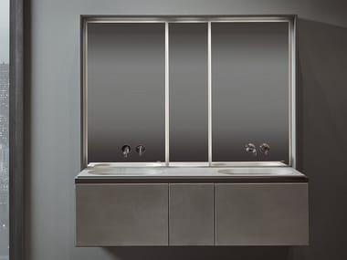 Mueble bajo lavabo doble suspendido con espejo CUBE | Mueble bajo lavabo doble