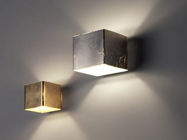 Glass wall light CUBE | Gold leaf wall light