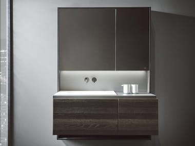 Mueble bajo lavabo suspendido de madera CUBE | Mueble bajo lavabo con espejo