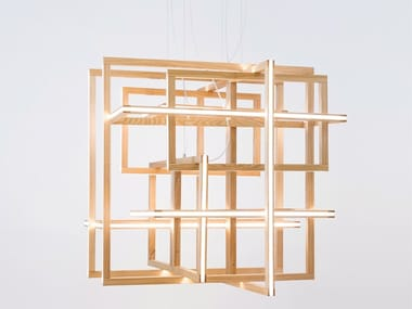 LED wooden pendant lamp CUBE