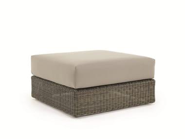 Square Ethimo EtWick® garden pouf CUBE | Garden pouf