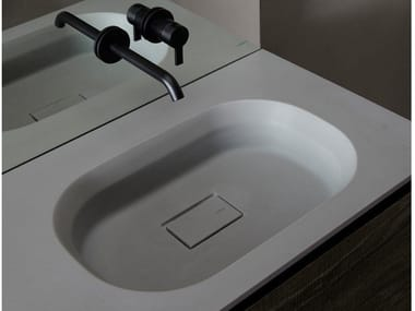 Cementsolid washbasin with integrated countertop CUBE | Cementsolid washbasin