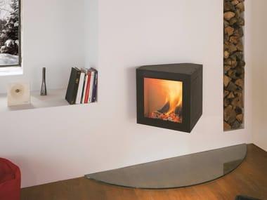 Wood-burning wall-mounted fireplace CUBIFOCUS