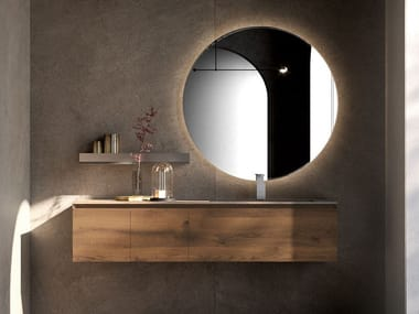 Wall-mounted oak vanity unit with drawers CUBIK 24