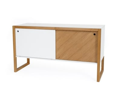 Lacquered sideboard with sliding doors CUBIS | Sideboard with sliding doors
