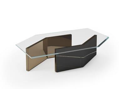 Tavolino esagonale in vetro CUBITUM 40   Tavolino da salotto