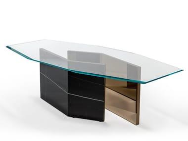 Tavolo ottagonale in vetro extrachiaro o vetro verniciato CUBITUM 72