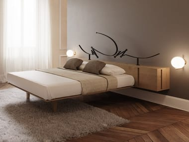 Double bed with storage headboard CUBO
