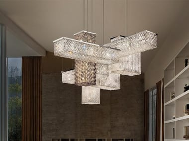 Pendant lamp with crystals CUBO S175 SQ
