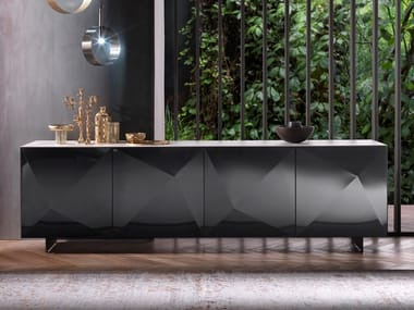Steel sideboard with doors CUBRIC | Steel sideboard