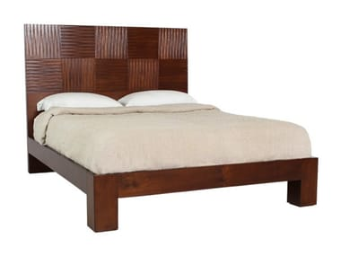 Wooden double bed with high headboard CUBULAR   Bed