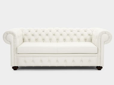 Tufted upholstered leather sofa CUOIO